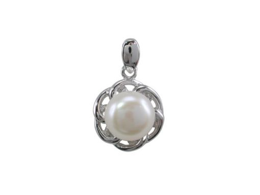Sterling Silver 8mm White Freshwater Pearl 11mm Pendant