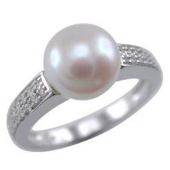 Sterling Silver 8mm White Freshwater Pearl & White Cubic Zirconia Ring