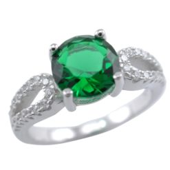 Sterling Silver 7mm Green Cubic Zirconia Ring