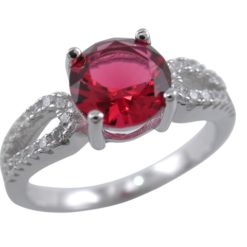 Sterling Silver 7mm Red Cubic Zirconia Ring