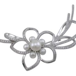 Sterling Silver 75x35mm White Freshwater Pearl & White Cubic Zirconia Brooch
