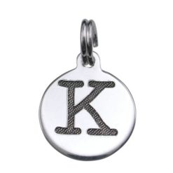 Sterling Silver 12mm Upper Case *k* Initial Charm With Split Ring
