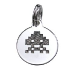 Sterling Silver 12mm Space Invaders #1 Charm With Split Ring