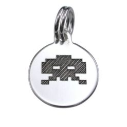 Sterling Silver 12mm Space Invaders #2 Charm With Split Ring