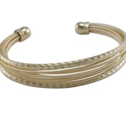 Stainless Steel 16mm Gold Plated Multi Stand Cuff Bangle