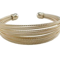 Stainless Steel 13mm Gold Plated Multi Stand Cuff Bangle