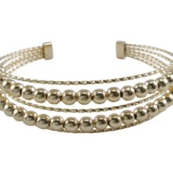 Stainless Steel 14mm Gold Plated Round Ball Multi Stand Cuff Bangle
