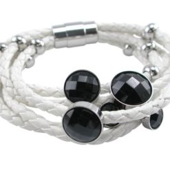 Stainless Steel 25mm Multi Stand White Leather & Black Crystal Bracelet 19cm