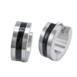 Stainless Steel 5mm Black Line Huggie Earrings