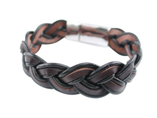 Stainless Steel 15mm Plaited Black & Brown Leather Bracelet