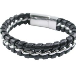 Stainless Steel 14mm Plaited Black Leather & Steel Chain Bracelet