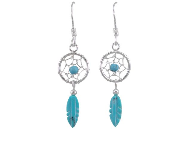 Sterling Silver 25x10mm Blue Turquoise Single Feather Dream Catcher Drop Earrings