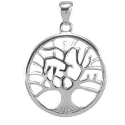 Sterling Silver 27mm Domed Tree Of Life Pendant