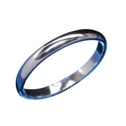 Sterling Silver 2mm Half Round Wedder Band Ring ()