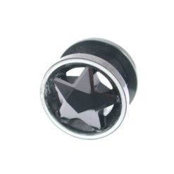 Surgical Steel 12mm Black Cubic Zirconia Star Internal Threaded Ear Plug