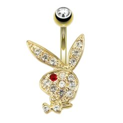 Surgical Steel 14k Gold Plated White & Red Crystal Playboy Bunny Banana 1.6 X10 X5/8