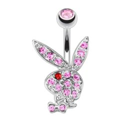 Surgical Steel & Rhodium Plated Pink & Red Crystal Playboy Bunny Banana 1.6 X10 X5/8
