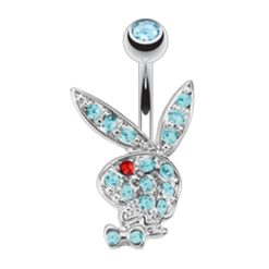 Surgical Steel & Rhodium Plated Aqua & Red Crystal Playboy Bunny Banana 1.6 X10 X5/8
