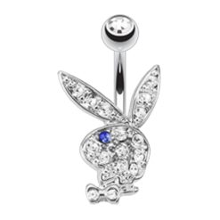 Surgical Steel & Rhodium Plated White & Blue Crystal Playboy Bunny Banana 1.6 X10 X5/8