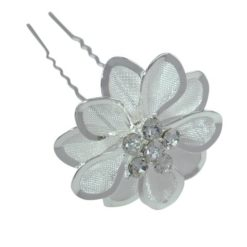 Silver Plated 35mm White Crystal Flower Hair Pin
