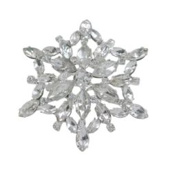 Rhodium Plated 50mm White Crystal Brooch