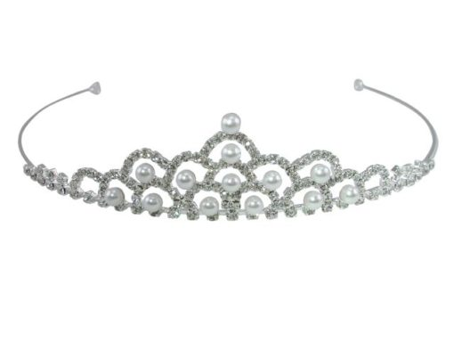 Silver Plated 30x129mm White Crystal & White Imitation Pearl Tiara