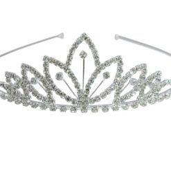 Silver Plated 43x130mm White Crystal Tiara