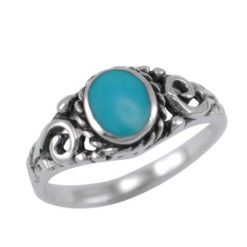 Sterling Silver 8mm Oval Blue Turquoise Filigree Ring