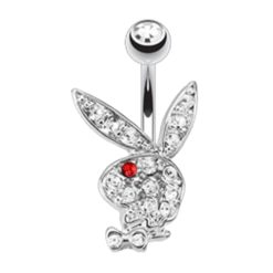 Surgical Steel & Rhodium Plated White & Red Crystal Playboy Bunny Banana 1.6 X10 X5/8