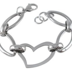Stainless Steel 25mm Heart & Oval Link Bracelet 19-20cm