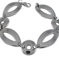 Stainless Steel 16mm Marquise And Circle Link Bracelet 21cm