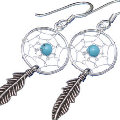 Sterling Silver 30x12mm Blue Turquoise Single Feather Dream Catcher Drop Earrings