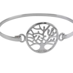 Sterling Silver 22mm Tree Of Life Bangle 60x50mm