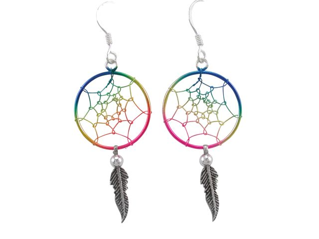 Sterling Silver 34x18mm Mutli Colour Single Feather Dream Catcher Drop Earrings