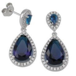 Sterling Silver 30x13mm Blue Teardrop Cubic Zirconia Stud Earrings