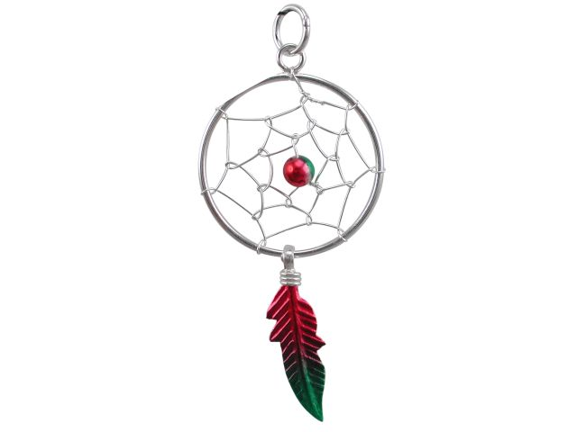 Sterling Silver 30x18mm Red & Green Anodised Single Feather Dream Catcher Pendant