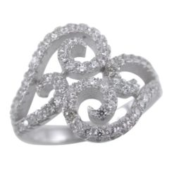 Sterling Silver 15mm White Cubic Zirconia Swirls Ring