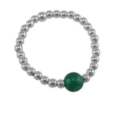 Sterling Silver 2mm Ball With 5mm Jade Ball Elastic Ring