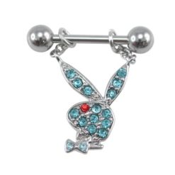 Surgical Steelsurgical Steel & Rhodium Plated Aqua & Red Crystal Playboy Bunny Nipple Bar 1.6x11x6
