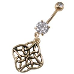 Gold Ip Coated Surgical Steel White Cubic Zirconia Celtic Banana 1.6 X10