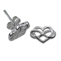 Sterling Silver 10x8mm Heart & Infinity Stud Earrings