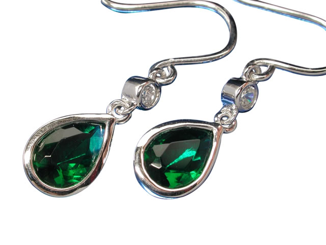 Sterling Silver 9x7mm Teardrop Green Cubic Zirconia 19mm Drop Earrings