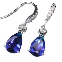 Sterling Silver 15x7mm Teardrop Blue And White Cubic Zirconia Hook Earrings
