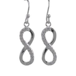 Sterling Silver 21x9mm White Cubic Zirconia Infinity Drop Earrings