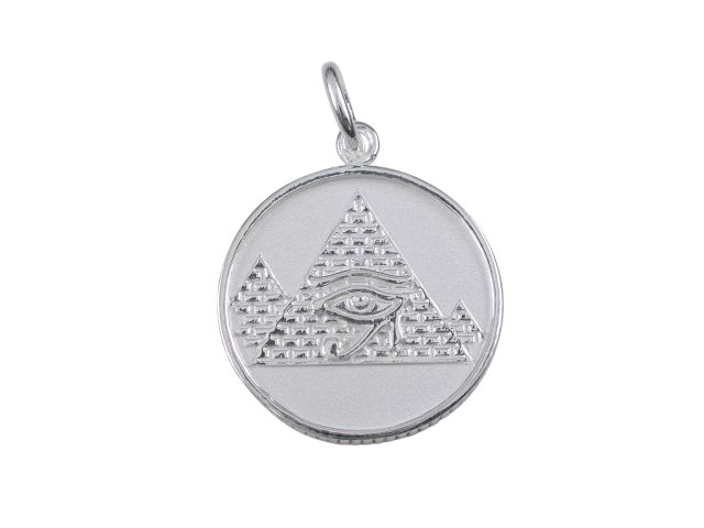 Sterling silver 17mm replica egyptian coin with pyramid eye of ra sterling silver 17mm replica egyptian coin with pyramid eye of ra double sided pendant aloadofball Choice Image