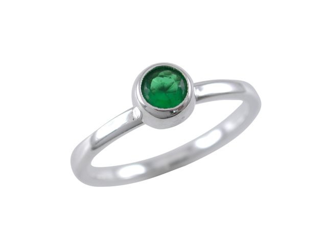 Sterling Silver 6mm Round Green Cubic Zirconia Ring