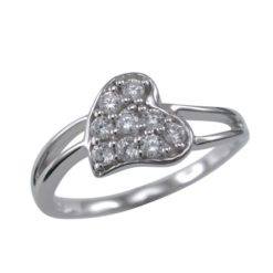 Sterling Silver 8mm White Cubic Zirconia Heart Ring