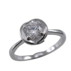 Sterling Silver 7mm Round White Cubic Zirconia Ring