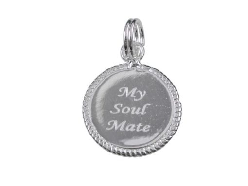 Sterling Silver 15mm *my Soul Mate* Charm With Split Ring