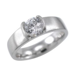 Stainless Steel 4.5mm White Cubic Zirconia Satin Finish Ring